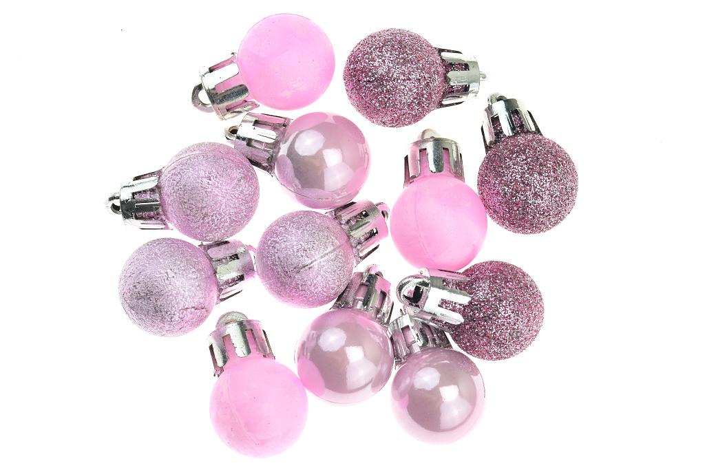 Vánoční kouličky (2cm) - Růžovo-fialové, 12ks