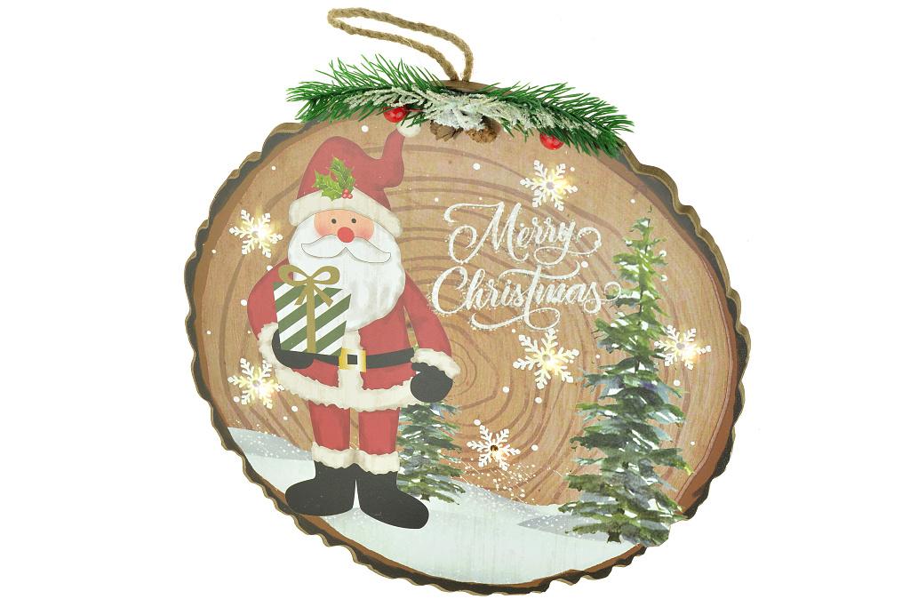 Dekorace s osvětlením (29x2x29cm) - Santa