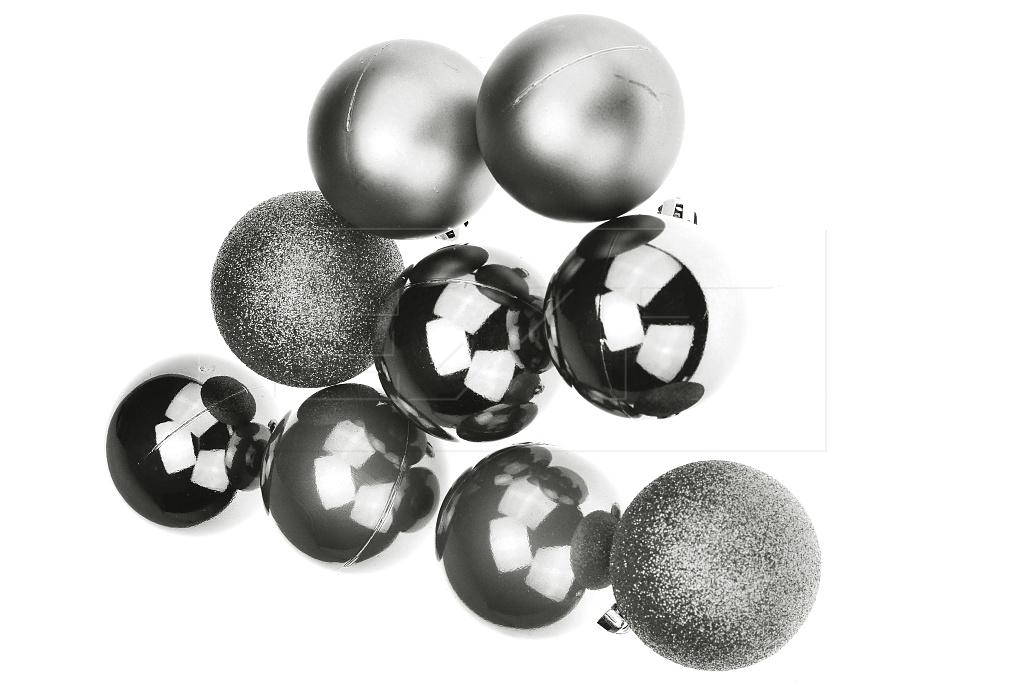 Vánoční koule na stromeček FLORA (6cm) 9ks - Stříbrné