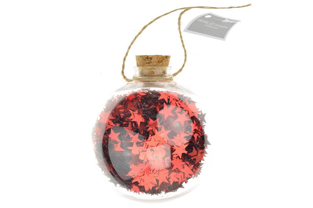Koule s hvězdičkami (9cm) - Červená