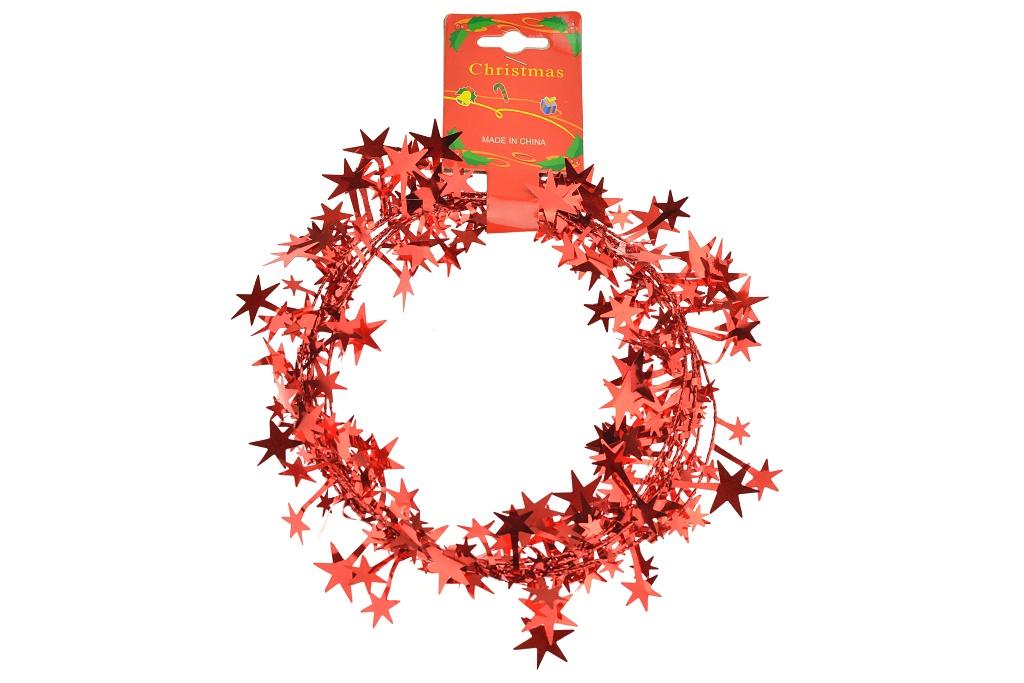 Vánoční dekorace, drátek s hvězdičkami - Červený