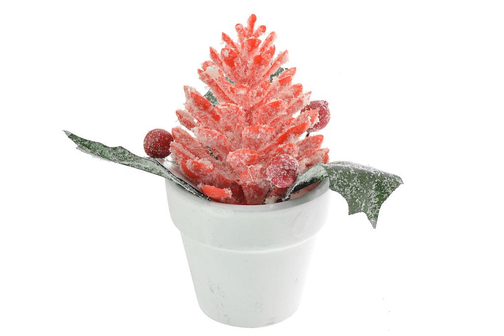 Vánoční šiška v květináčku (12cm) - Červená