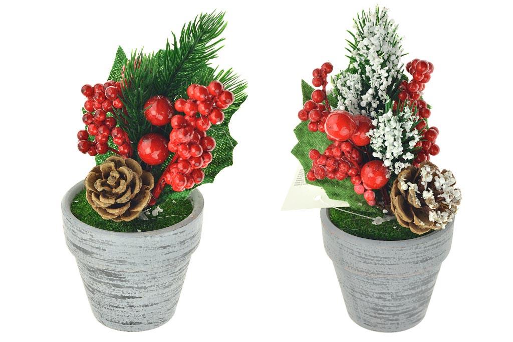 Vánoční dekorace v květináčku (15cm) - Mix motivů, 1ks