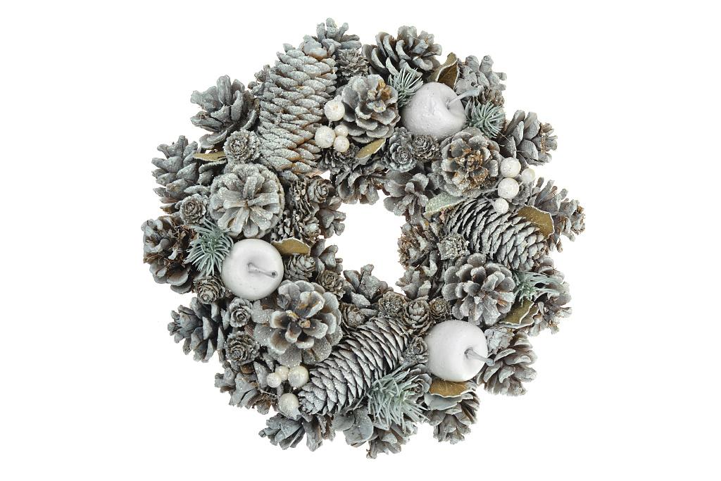 Vánoční věnec (25cm) - Bílý