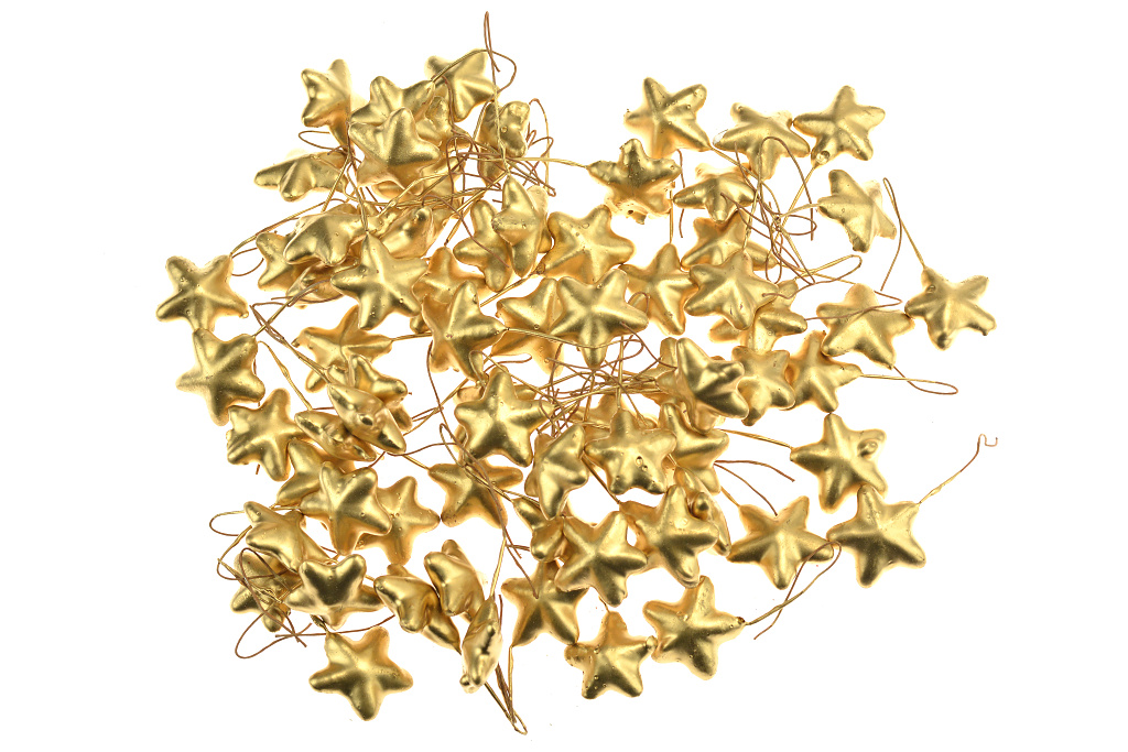 Dekorační hvězdičky (á3cm) - Zlaté, 70ks