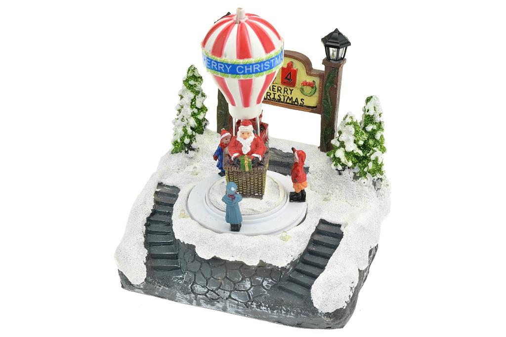 Vánoční scéna (18cm) - Vánoční balón, svítí a hýbe se