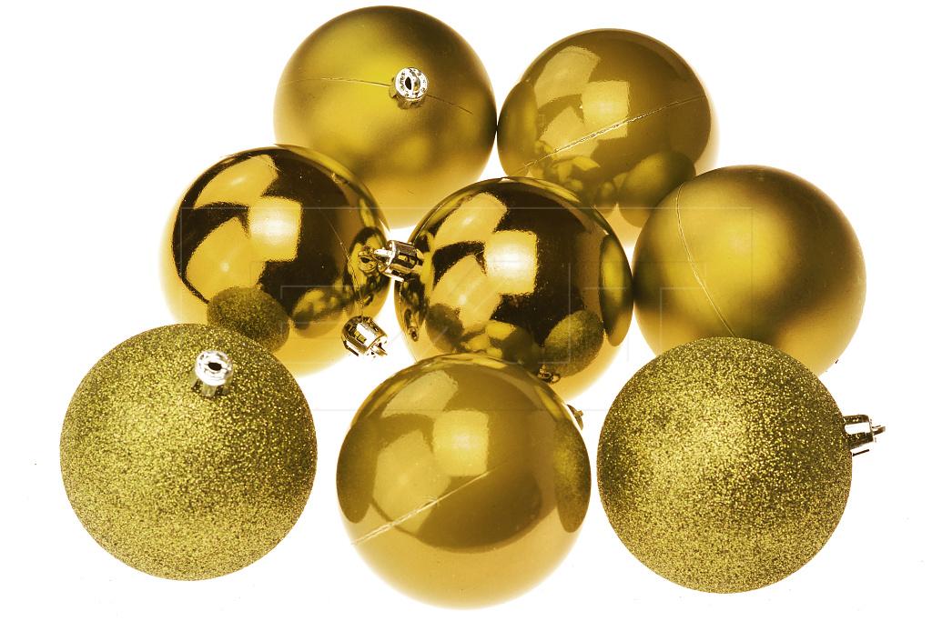 Vánoční koule na stromeček FLORA (8cm) 8ks - Zlaté