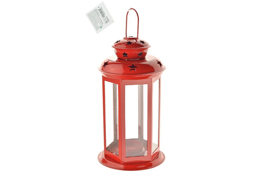 Lucerna na čajovou svíčku (21cmú - Červená