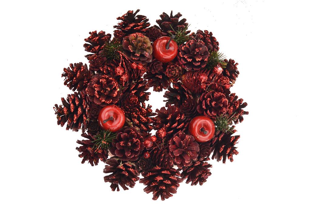 Vánoční věnec (25cm) - Červený