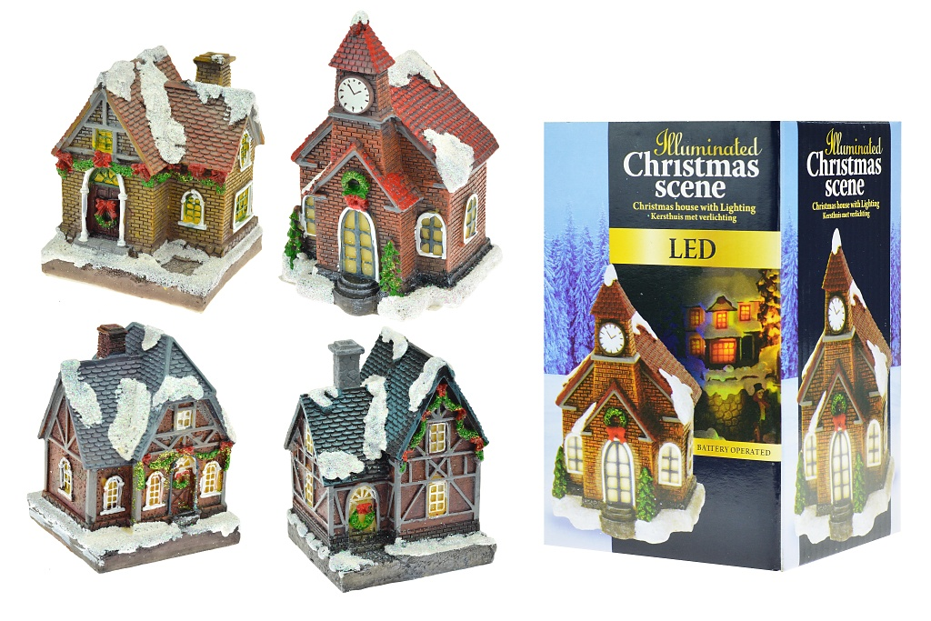 Vánoční scéna (10cm) - S LED diodami, Dům, mix motivů, 1ks