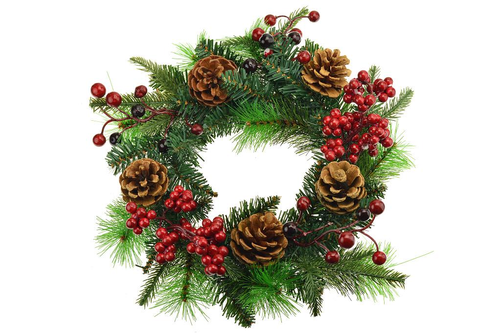 Vánoční věnec (30cm) - Přírodní barvy