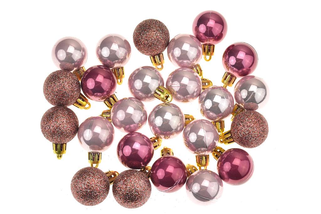 Vánoční kouličky na stromeček, červená perleť - Set 24ks 30mm