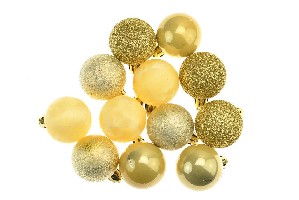 Vánoční kouličky (4cm) - Zlaté, set 12ks