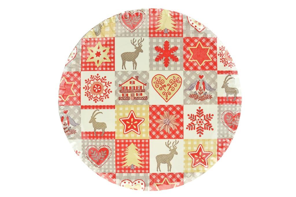 Papírový talíř (23cm), set 10ks - Vánoční motivy