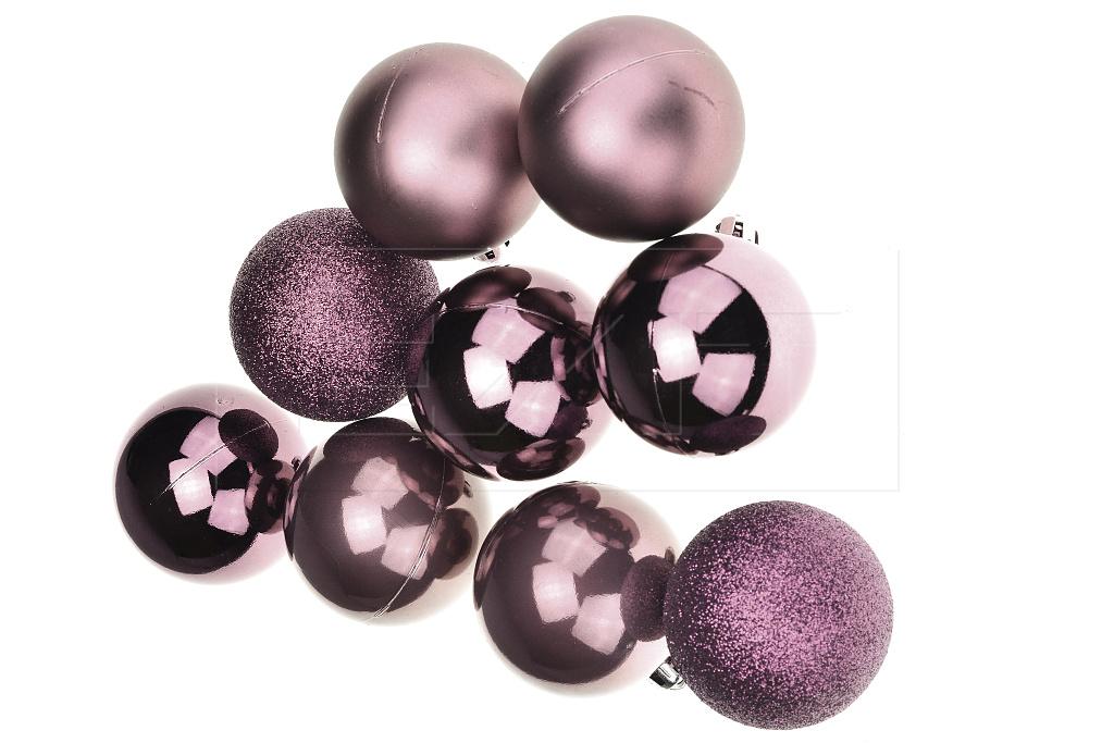 Vánoční koule na stromeček FLORA (6cm) 9ks - Tmavě fialové