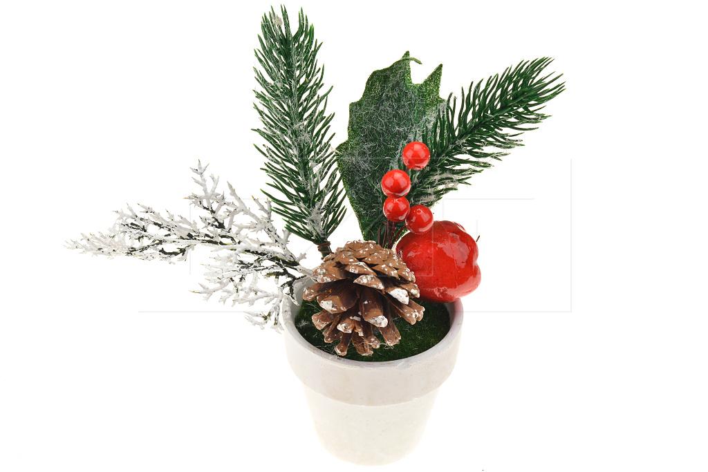 Vánoční dekorace v květináčku (15x7cm) - Mix větviček