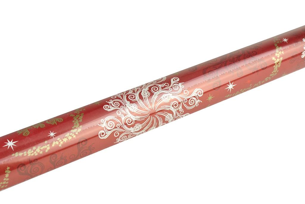 Vánoční balící papír, červené vločky - 3m x 70cm