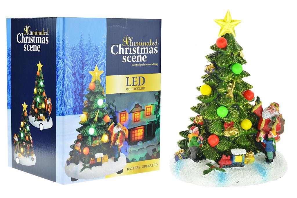 Vánoční scéna (18cm) ručně malovaný stromeček s LED diodami - Mix motivů, 1ks