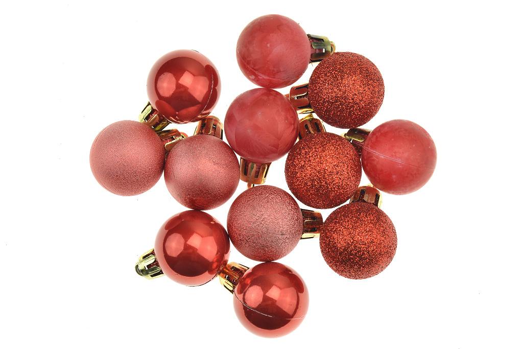 Vánoční kouličky (3cm) - Červené, 12ks