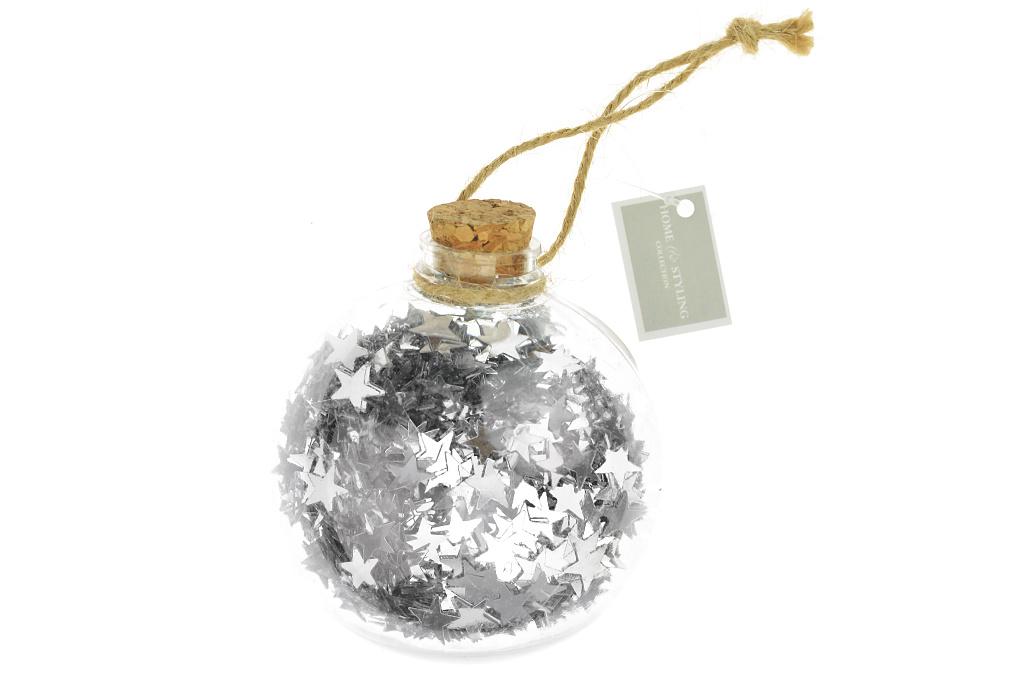 Koule s hvězdičkami (9cm) - Stříbrná