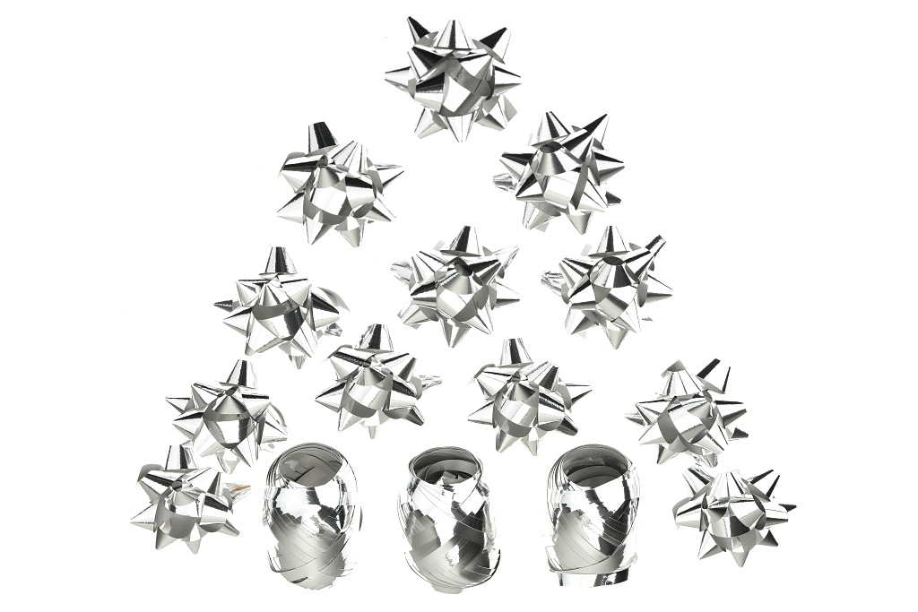 Dárkové mašle a stuhy HS (5cm) 15ks - Stříbrné