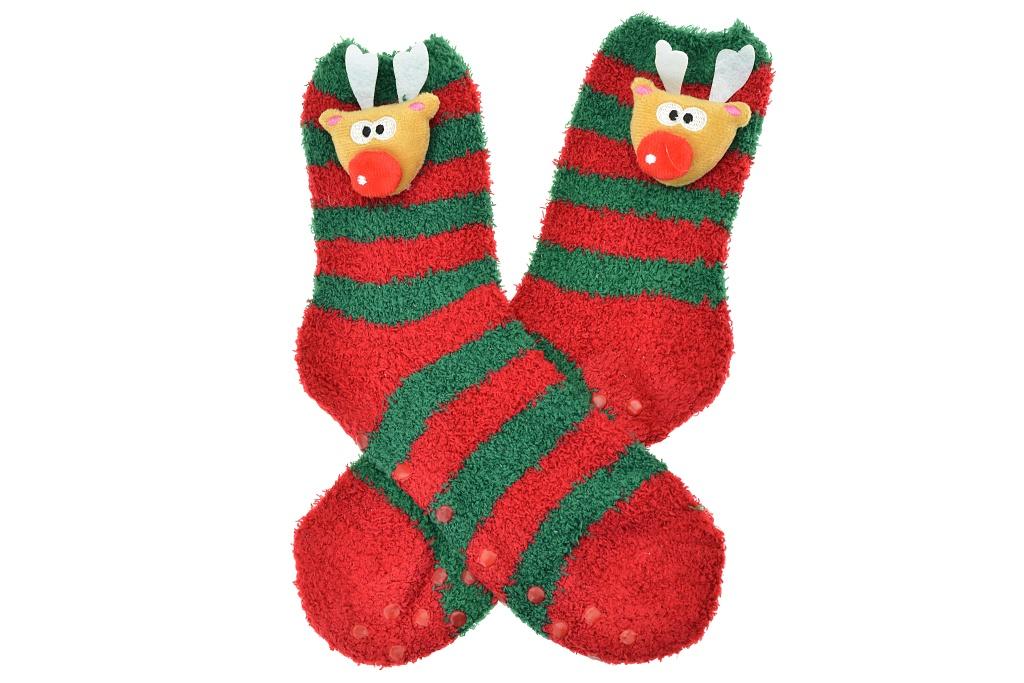 Teplé ponožky s protiskluzovou podrážkou - Sobík, vel.38-39, zeleno-červené