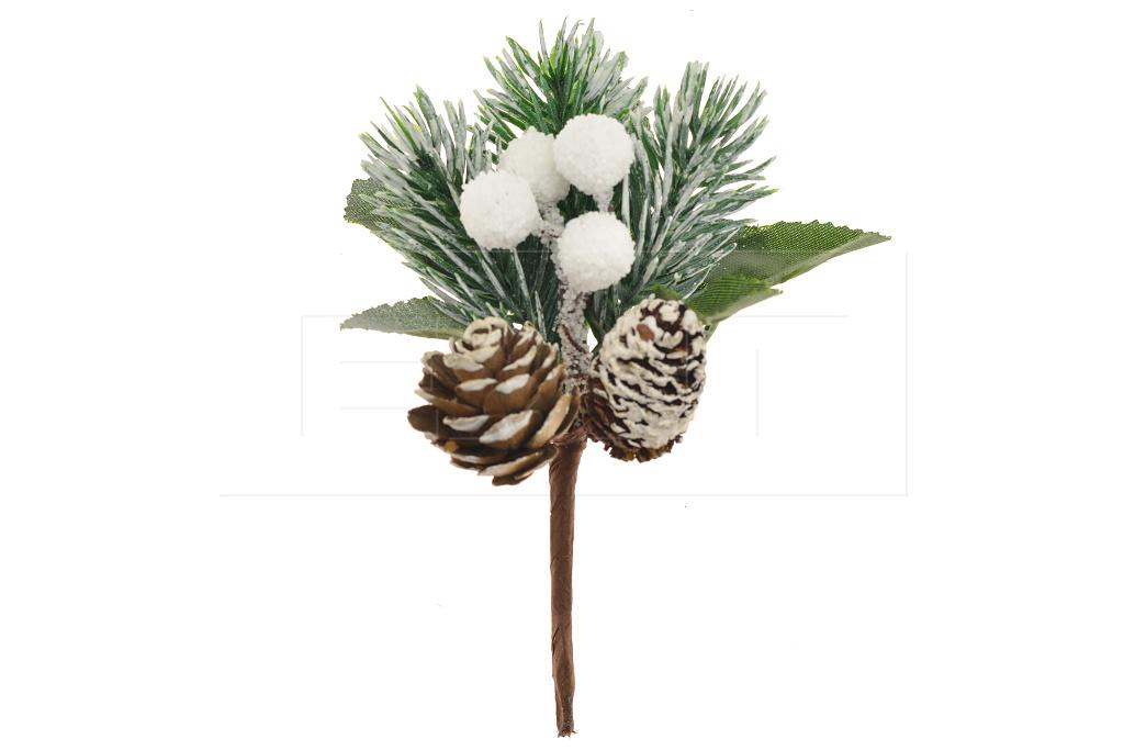 Vánoční dekorační zápich FLORA (13cm) Set 12ks - Zasněžená větvička