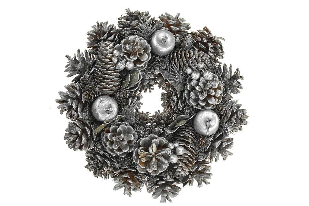 Vánoční věnec (25cm) - Stříbrný