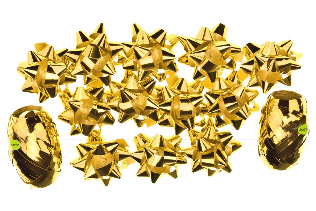 Dárkové mašle a stuhy HS (5cm) 14ks - Zlaté