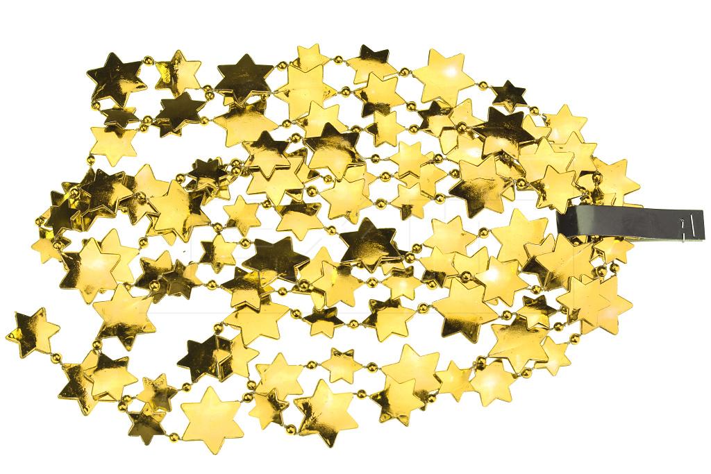Vánoční řetěz s hvězdami DECORIS (2.6x270cm) - Zlatý