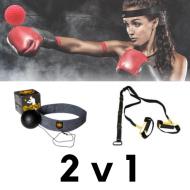 Posilovací popruhy s černým boxovacím míčkem - Set