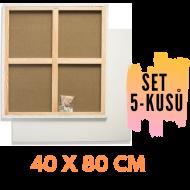 Malířské plátno na rámu 40 x 80 cm 320g/m2, 5 kusů