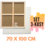 Malířské plátno na rámu 70 x 100 cm, 3 kusy.