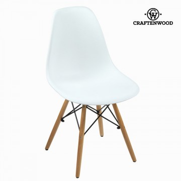 White polypropylene a beech dřevoen chair by Craftenwood