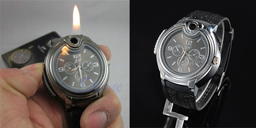 Hodinky se zapalovačem - Military Lighter Watch Novelty Man Quartz Sports Refillable Butane Gas Cigarette Cigar Men Watches