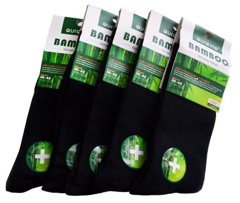 Černé Classic - Bambusové ponožky - 5 párů vel. 43-46