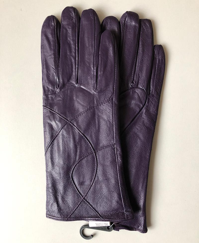 DÁMSKÉ kožené rukavice - tmavě fialové - Velikost XL  c6e759cefd