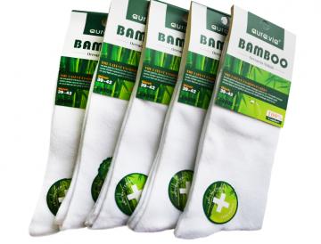 Bambusové ponožky - 5 párů vel. 43 - 46 bílé