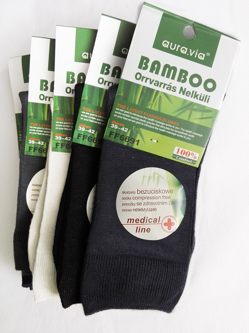 Zdravotní Bambusové ponožky - 5 párů vel. 39 - 42