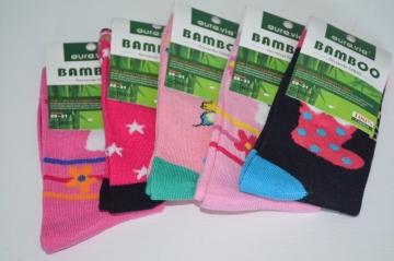 Bambusové ponožky dívčí vel. 24 - 27 mix 5 párů