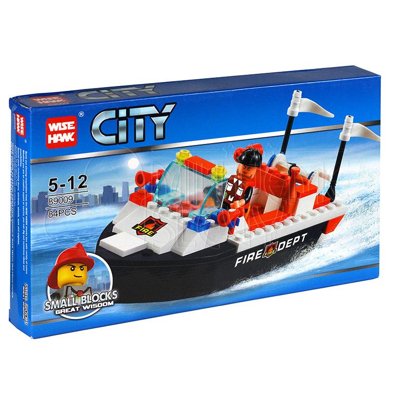 Stavebnice - hasičský člun  - počet dílků 84