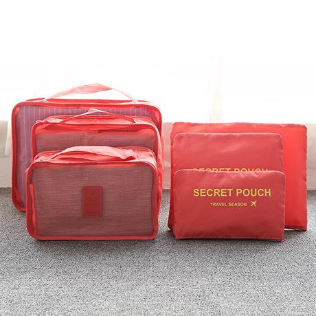 Praktické cestovní tašky - sada organizérů na cesty 6ks - červená