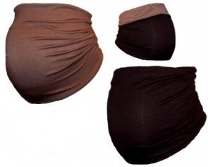 Těhotenský pás DUO - sv. hnědá s tm. hnědou | Velikosti těh. moda: XL (42)