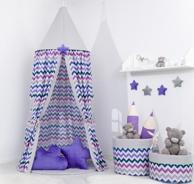 Stan pro děti, závěsný stan - fialový cik cak / šedý