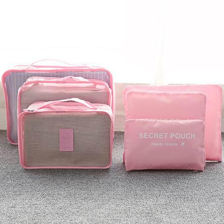 Praktické cestovní tašky - sada organizérů na cesty 6ks - růžová