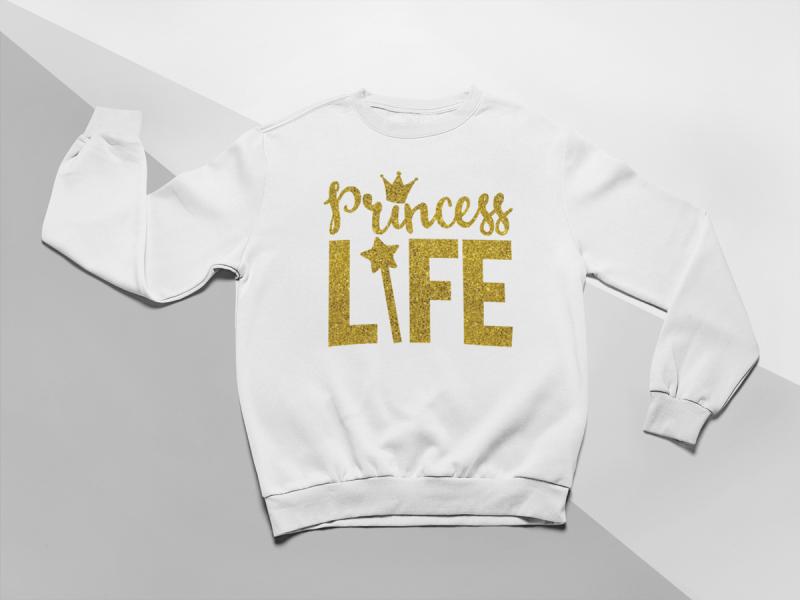 Levně KIDSBEE Moderní dětská dívčí mikina Princess Life - bílá | Velikost koj. oblečení: 116