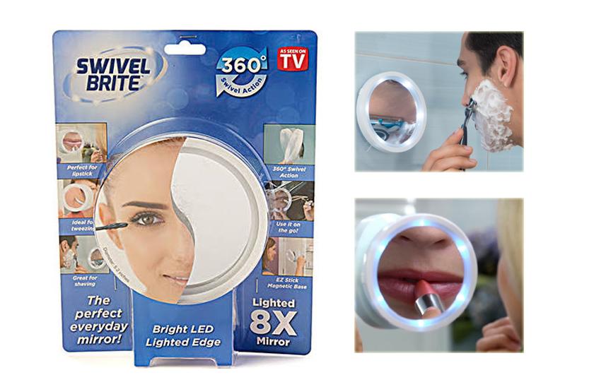 Kosmetické zvětšovací zrcátko - s LED podsvícením a osminásobným zvětšením