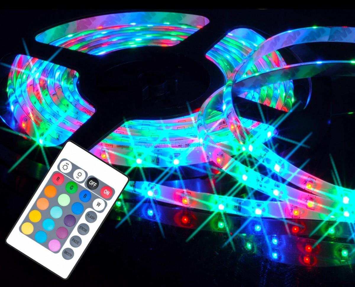 LED pásek barevný (RGB) - 5 metrů - kompletní sada