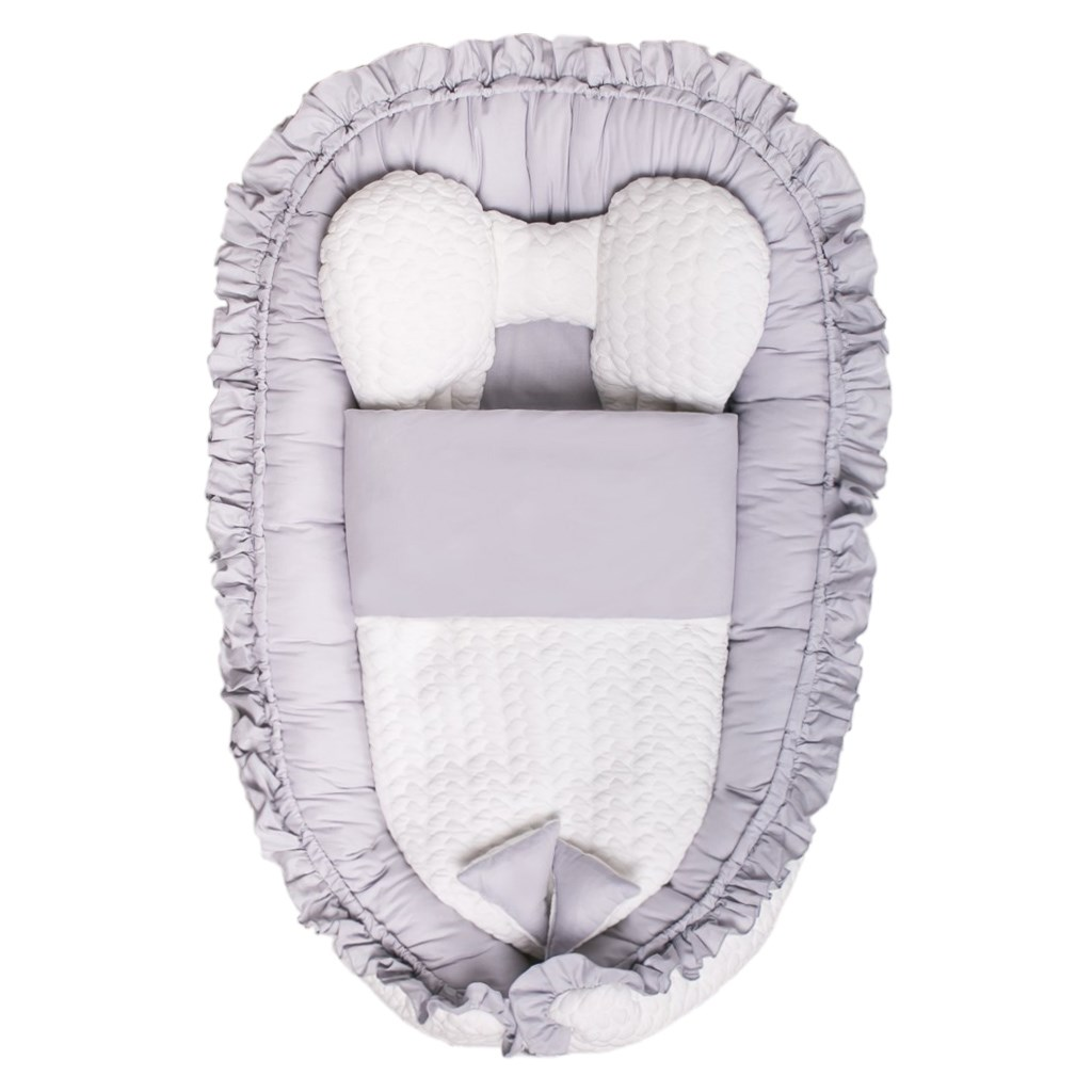 Levně Luxusní hnízdečko s peřinkou pro miminko Belisima Králíček šedé