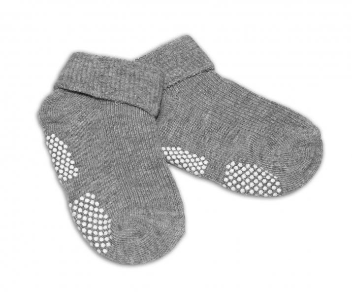 Levně Kojenecké ponožky Risocks protiskluzové - šedé   Velikost koj. oblečení: 12/24měsíců